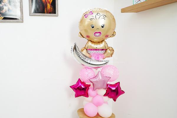 Welcome Baby Girl Balloon Bouquet