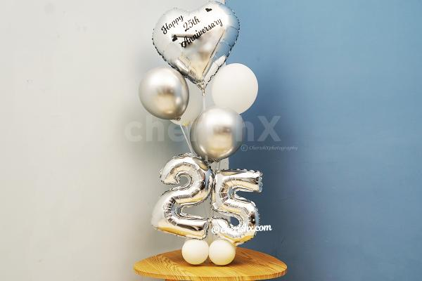Happy Anniversary Silver Balloon Bouquet