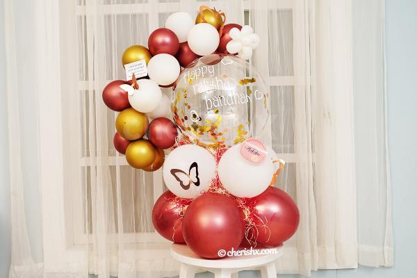 Gold & Rose Gold Bubble Balloon Bouquet