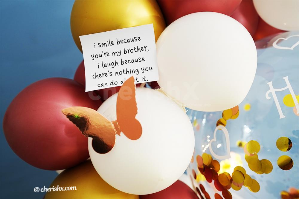 Bubble balloon with Golden Confetti highlighting the CherishX Rakhi balloon bunch
