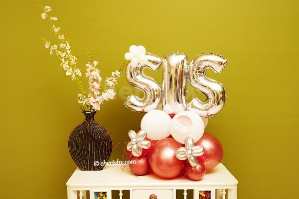 Silver & Rose Gold SIS Balloon Bouquet