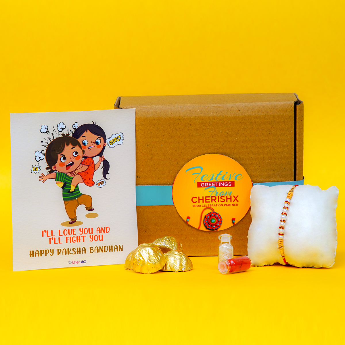 Add this utterly charming rakhi with roli chawal and chocolates
