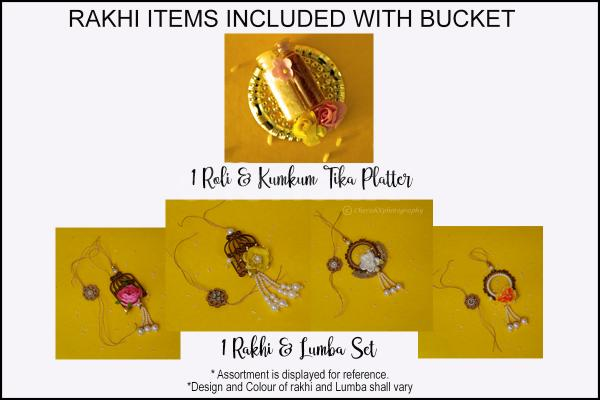 You can gift these beautiful Rakhi Lumba set in the bucket surprise to your brother and sister-in-law with CherishX