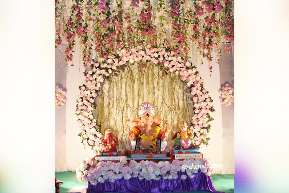 Ganesh Chaturthi Pink Floral Decor