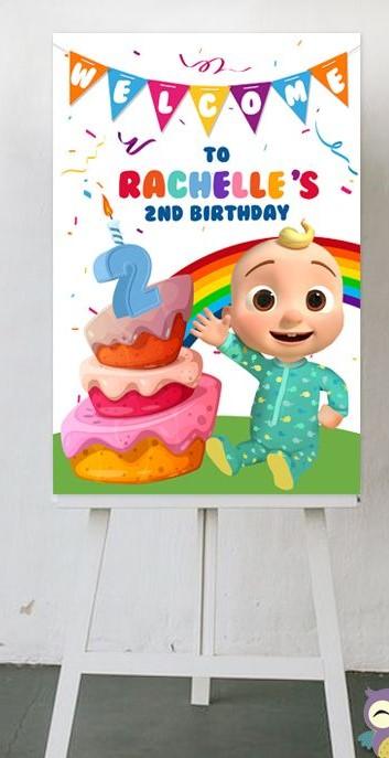 Personalized Cocomelon Theme Welcome Board