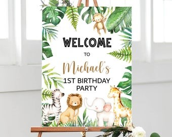 Personalised Jungle Theme Welcome Board