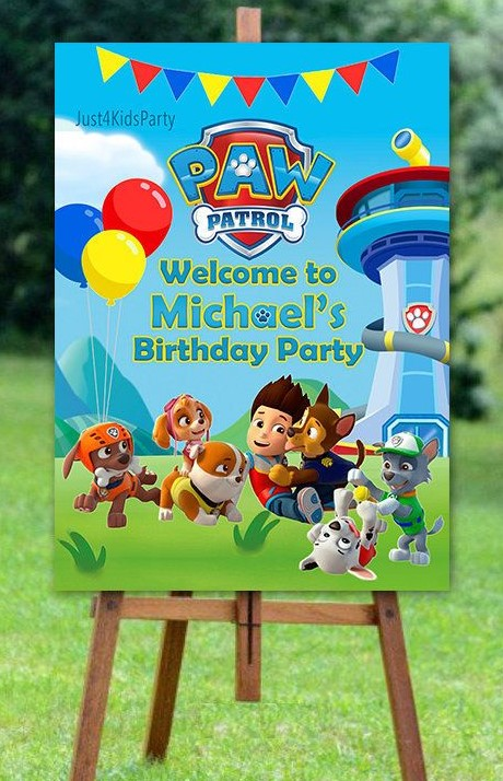 Personalised Paw Patrol Theme Welcome Board