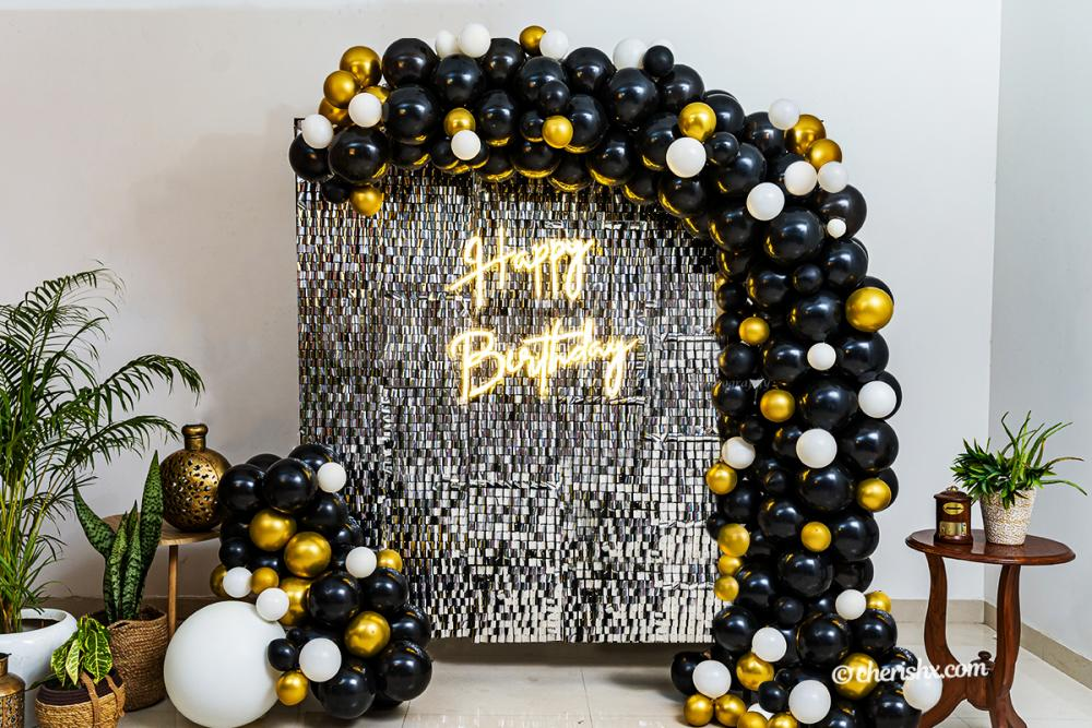 A Gorgeous in-trend Premium Sequins Black and Gold Neon Decor!