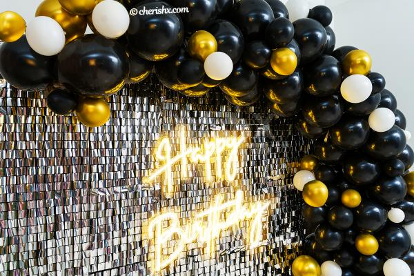 Make your birthday party awesome with CherishX's Premium Sequins Black and Gold Neon Decor
