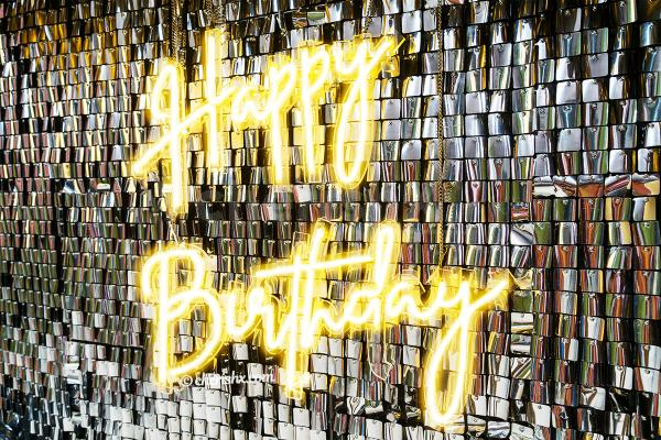 Sequin Panel with Happy Birthday Neon Signage to make your party lit!