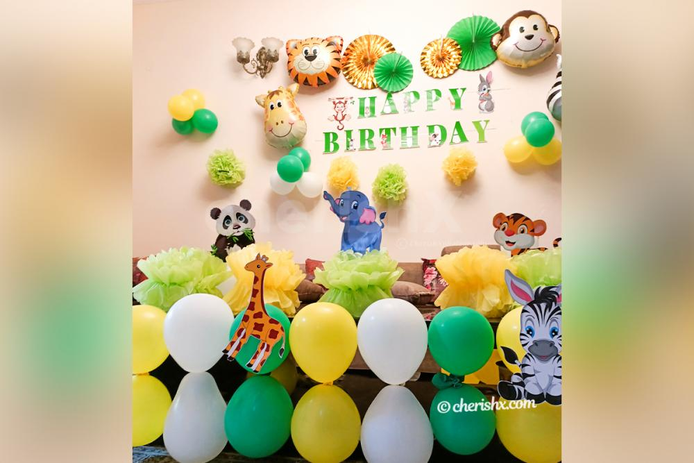 Jungle Themed Table Decor by CherishX for your kid's birthday party