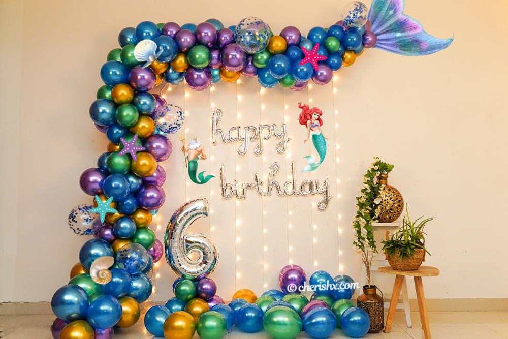Add glamour to your kid's birthday party with CherishX's Mermaid Theme Decor!