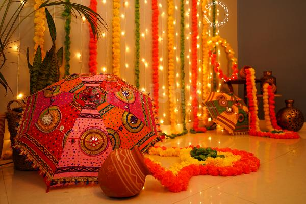 Festive Umbrella and Flower Garlands Decor